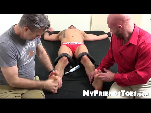 Horny bald dude with tattoos gets hard tickle session