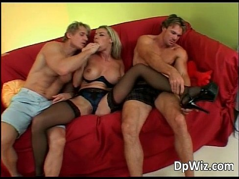 Two guys DP a slutty blonde