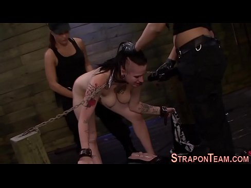 Lezdom bdsm strapon facefuck and gagging on her own piss 8