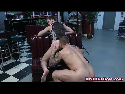 gaysex muscle hunk drenched in cum