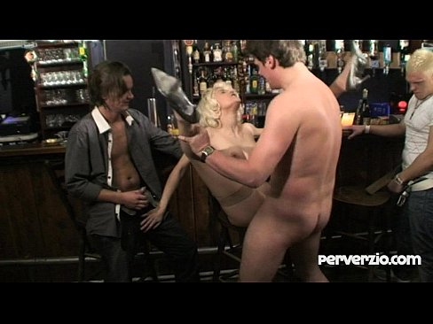 a blond guy public gangbanged in a bar