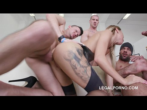 7on1 Double Anal GangBang with Russian gymnast slut Katrin Tequila