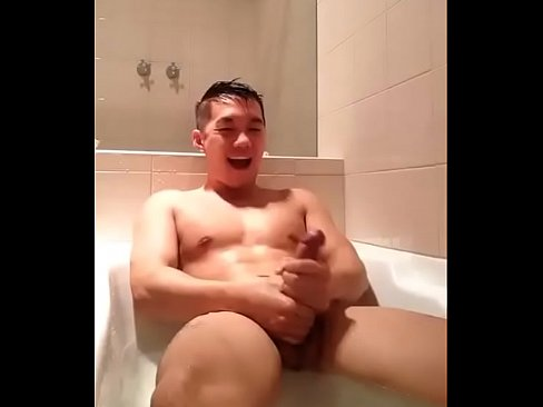 Asian hunk with big dick bathing