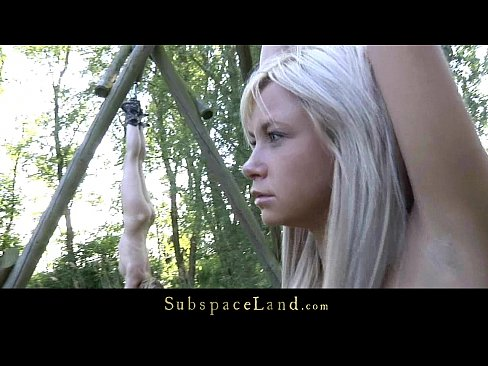 Fresh blonde teens restrained for outdoor bondage punish