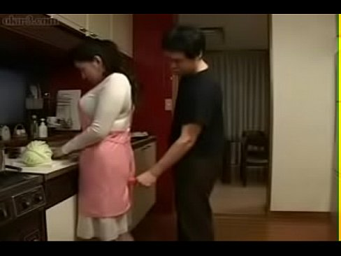 Asian mom with son in kitchen