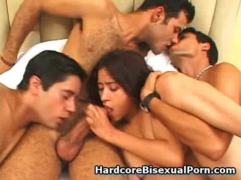 Nasty bisexual orgy for group
