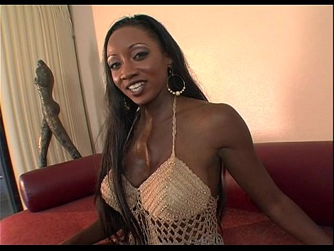 Ebony beauty blowing a hard white shaft