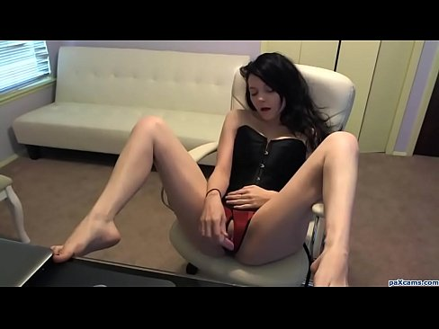 Cute Teen in Corset Bates Her Tight Pussy on Webcam