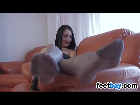 Foot in nylons sexy womens