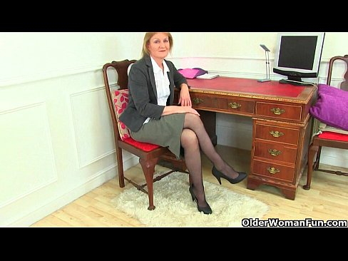image British milf clare strips off her secretary outfit and plays