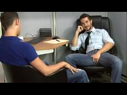 Gay jock wanking himself off in the office