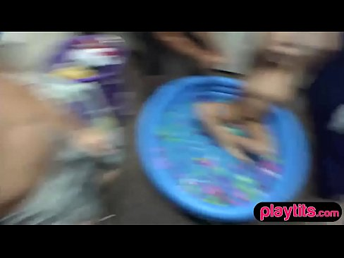Naughty dorm girls fuck a lucky guy at wetshirt party