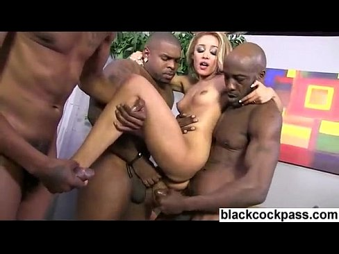 Brutal interracial gangbang