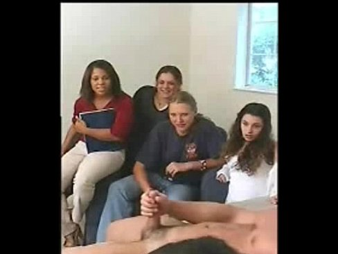 Four Women Watch Guy Jerk Off