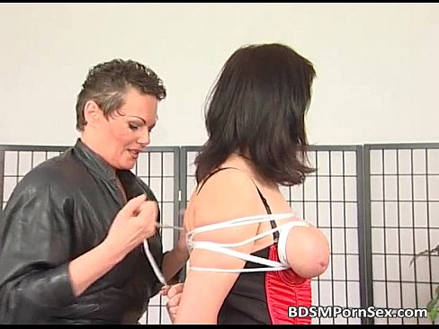 Busty milf plays bondage games