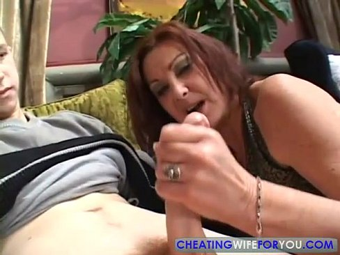 Mature brunette sucks old cock
