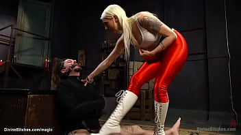 Big tits blonde mistress Lorelei Lee in red leggings and high heels boots torments man in straitjacket Ryan Patrix then pegs him with strap on cock