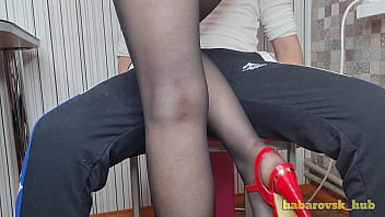 sexy teacher in stockings seduced a student in the classroom