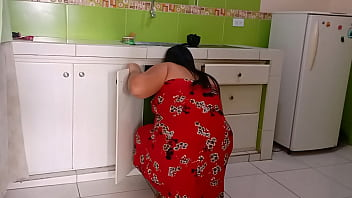 My stepmom gets stuck in the sink I try to help her but her huge ass makes me excited and we end up fucking before my dad gets home